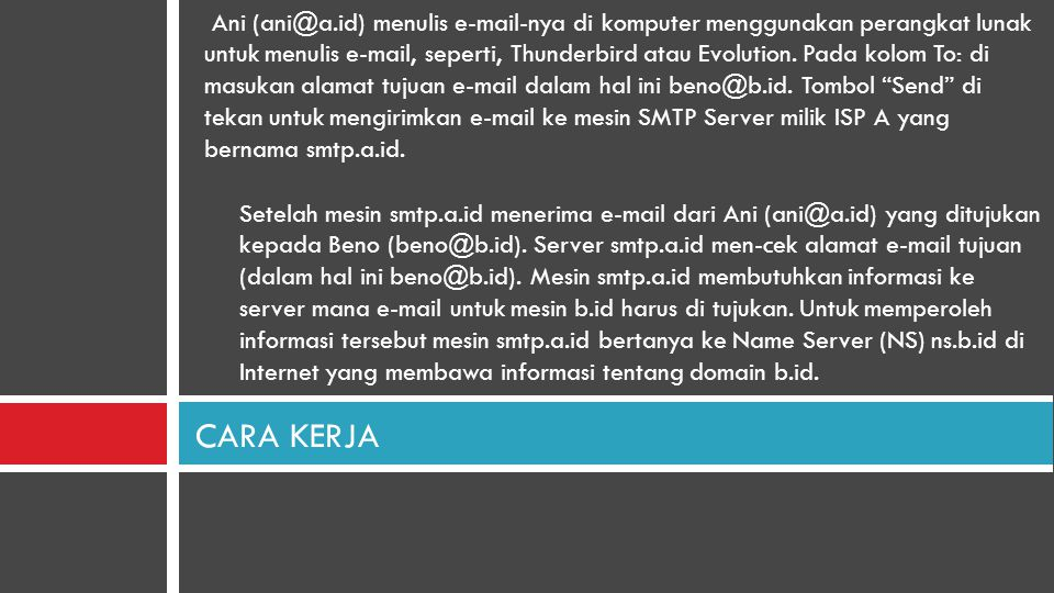 Ani (ani@a.id) menulis e-mail-nya di komputer menggunakan perangkat lunak untuk menulis e-mail, seperti, Thunderbird atau Evolution. Pada kolom To: di masukan alamat tujuan e-mail dalam hal ini beno@b.id. Tombol Send di tekan untuk mengirimkan e-mail ke mesin SMTP Server milik ISP A yang bernama smtp.a.id.
