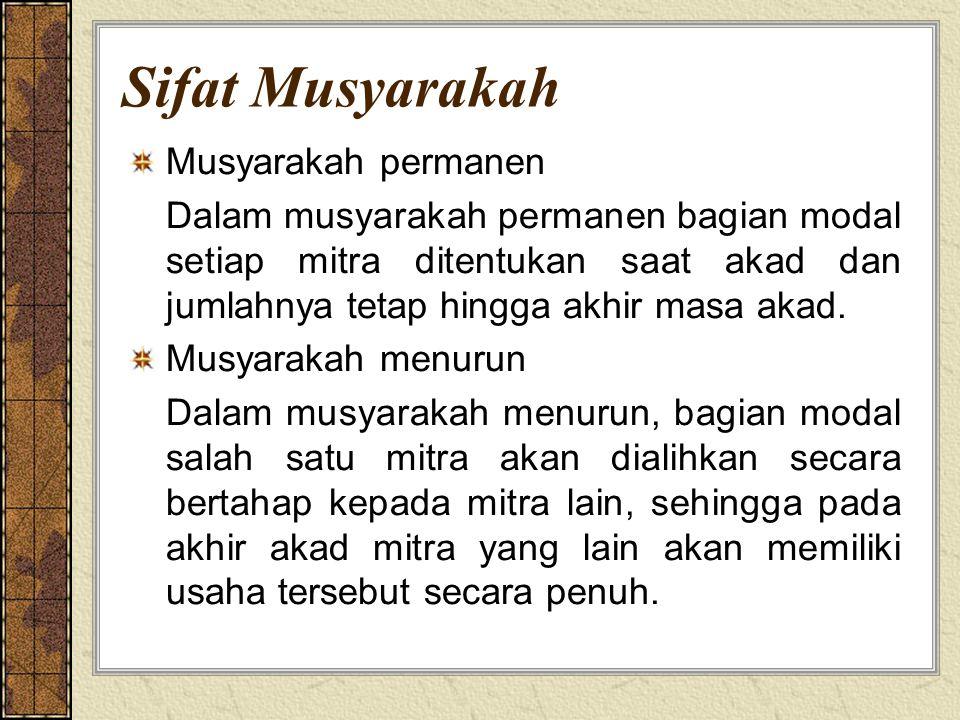 Sifat Musyarakah Musyarakah permanen