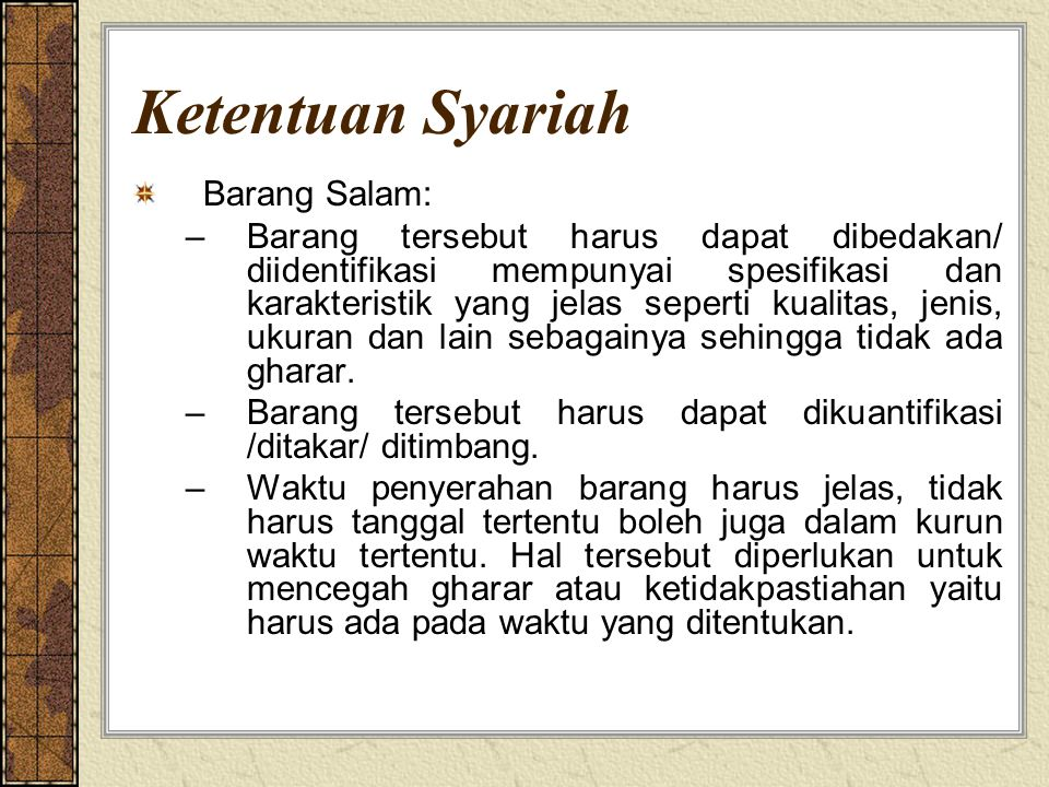 Ketentuan Syariah Barang Salam: