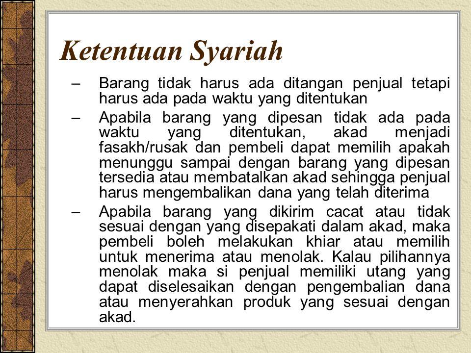 Ketentuan Syariah Barang tidak harus ada ditangan penjual tetapi harus ada pada waktu yang ditentukan.