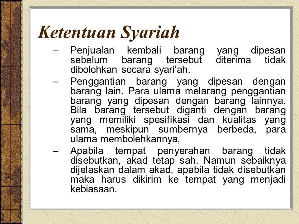 Ketentuan Syariah Penjualan kembali barang yang dipesan sebelum barang tersebut diterima tidak dibolehkan secara syari'ah.