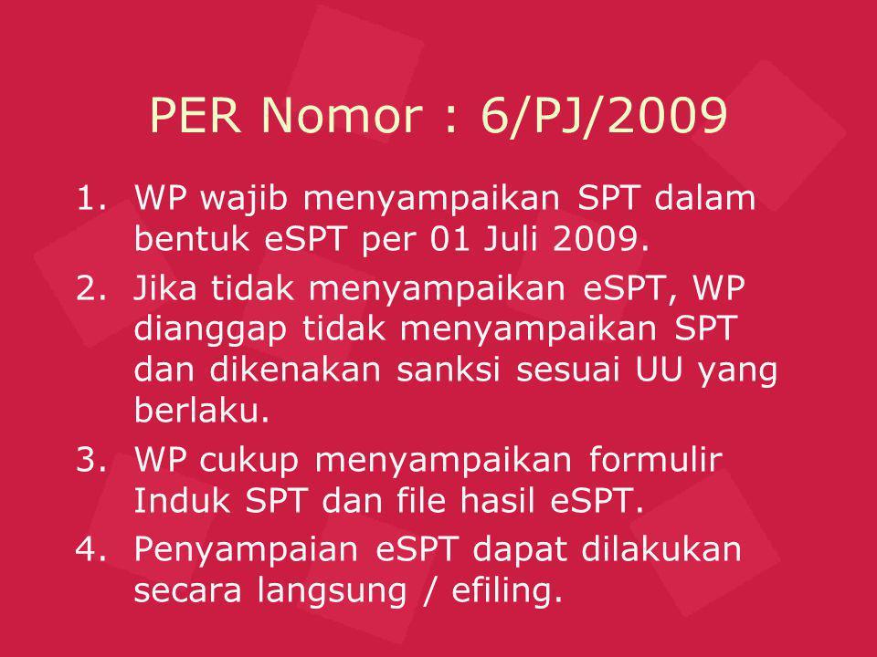 PER Nomor : 6/PJ/2009 WP wajib menyampaikan SPT dalam bentuk eSPT per 01 Juli 2009.