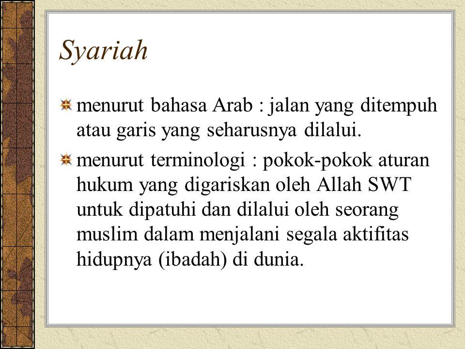 Syariah menurut bahasa Arab : jalan yang ditempuh atau garis yang seharusnya dilalui.