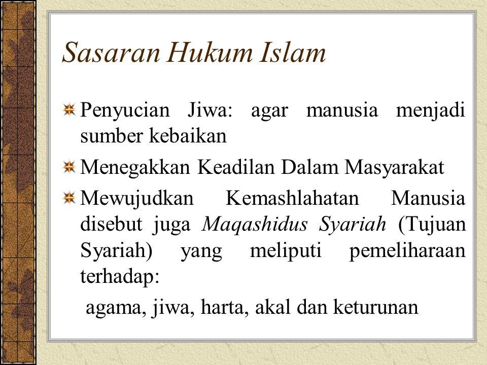 Sasaran Hukum Islam Penyucian Jiwa: agar manusia menjadi sumber kebaikan. Menegakkan Keadilan Dalam Masyarakat.