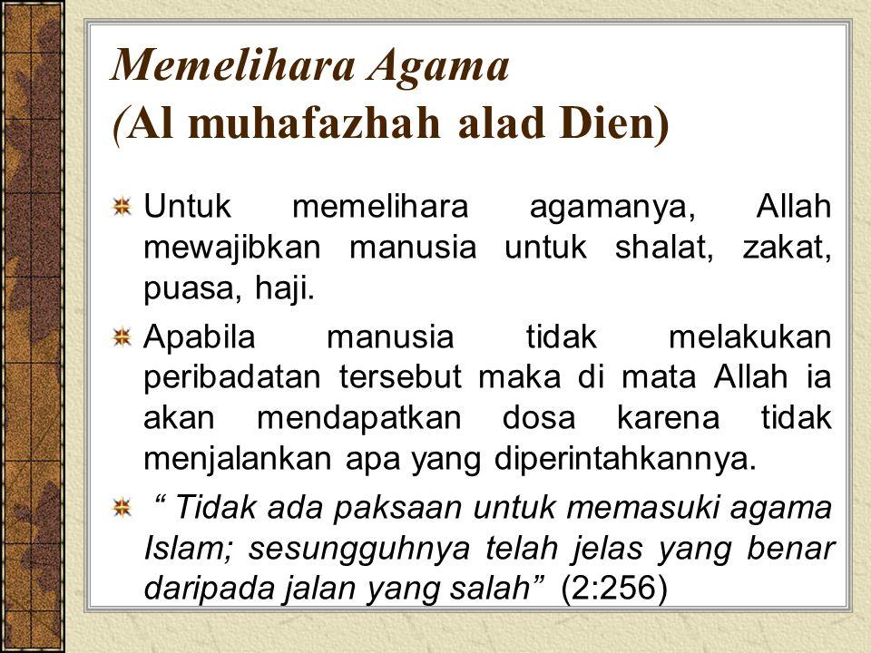 Memelihara Agama (Al muhafazhah alad Dien)