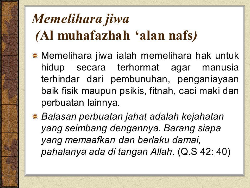 Memelihara jiwa (Al muhafazhah 'alan nafs)