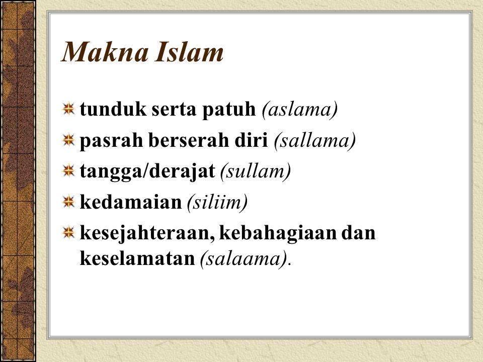 Makna Islam tunduk serta patuh (aslama) pasrah berserah diri (sallama)