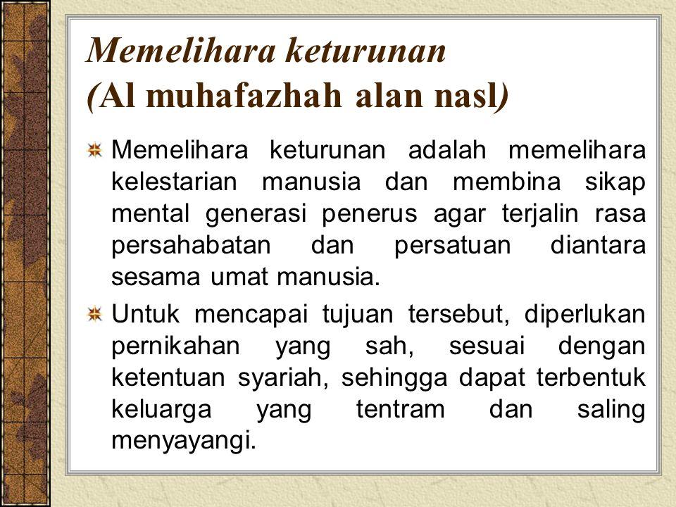 Memelihara keturunan (Al muhafazhah alan nasl)