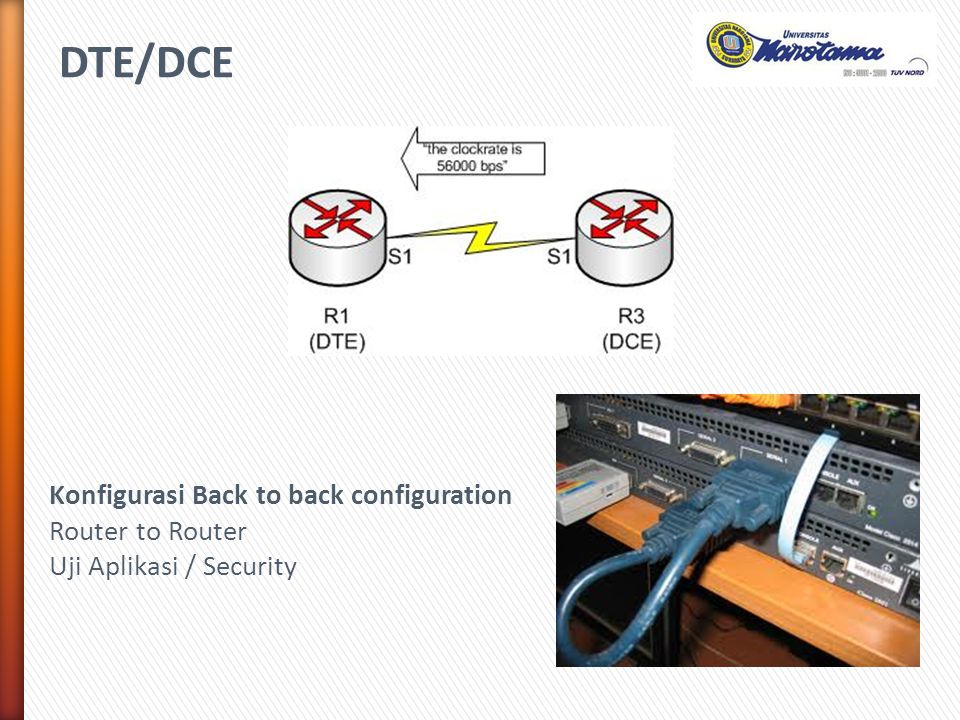 DTE/DCE Konfigurasi Back to back configuration Router to Router