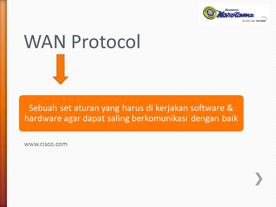 WAN Protocol Sebuah set aturan yang harus di kerjakan software & hardware agar dapat saling berkomunikasi dengan baik.