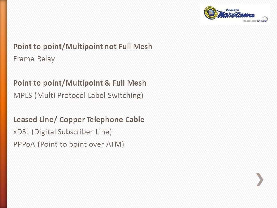 Point to point/Multipoint not Full Mesh Frame Relay Point to point/Multipoint & Full Mesh MPLS (Multi Protocol Label Switching) Leased Line/ Copper Telephone Cable xDSL (Digital Subscriber Line) PPPoA (Point to point over ATM)