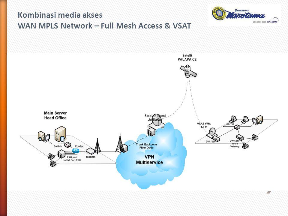 Kombinasi media akses WAN MPLS Network – Full Mesh Access & VSAT