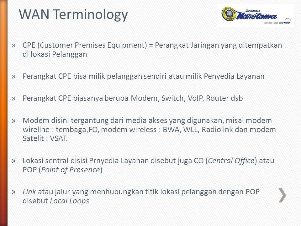 WAN Terminology CPE (Customer Premises Equipment) = Perangkat Jaringan yang ditempatkan di lokasi Pelanggan.