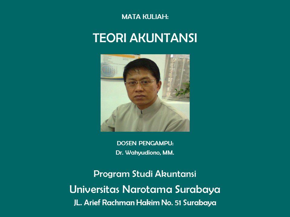 TEORI AKUNTANSI Universitas Narotama Surabaya Program Studi Akuntansi