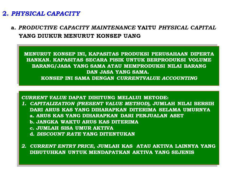 2. PHYSICAL CAPACITY a. PRODUCTIVE CAPACITY MAINTENANCE YAITU PHYSICAL CAPITAL. YANG DIUKUR MENURUT KONSEP UANG.