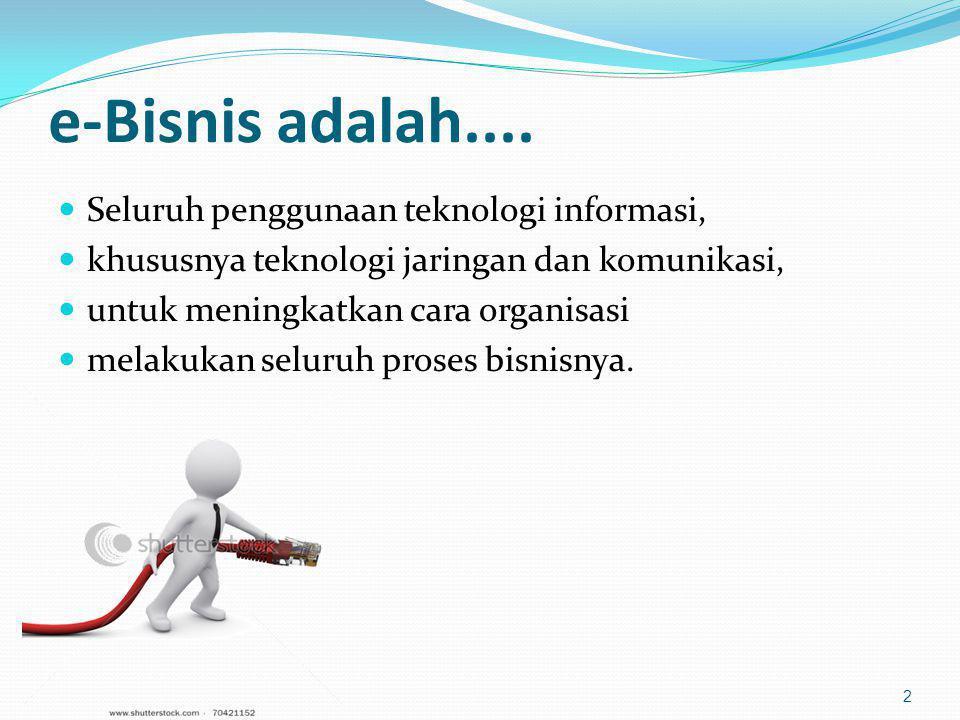 e-Bisnis adalah.... Seluruh penggunaan teknologi informasi,