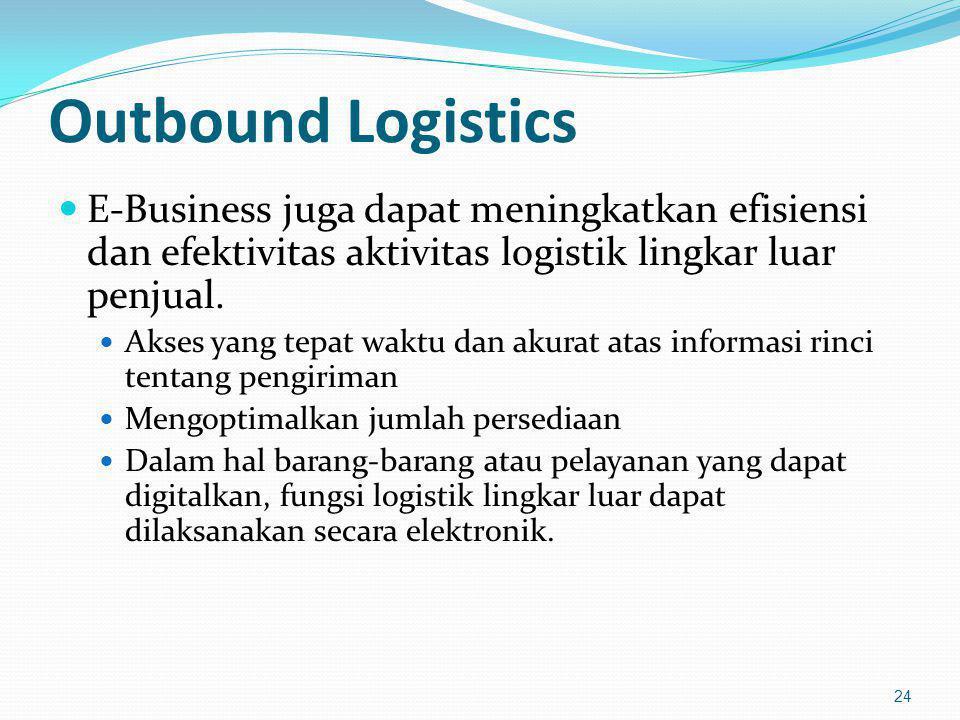 Outbound Logistics E-Business juga dapat meningkatkan efisiensi dan efektivitas aktivitas logistik lingkar luar penjual.