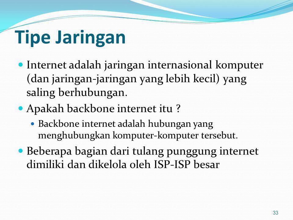 Tipe Jaringan Internet adalah jaringan internasional komputer (dan jaringan-jaringan yang lebih kecil) yang saling berhubungan.