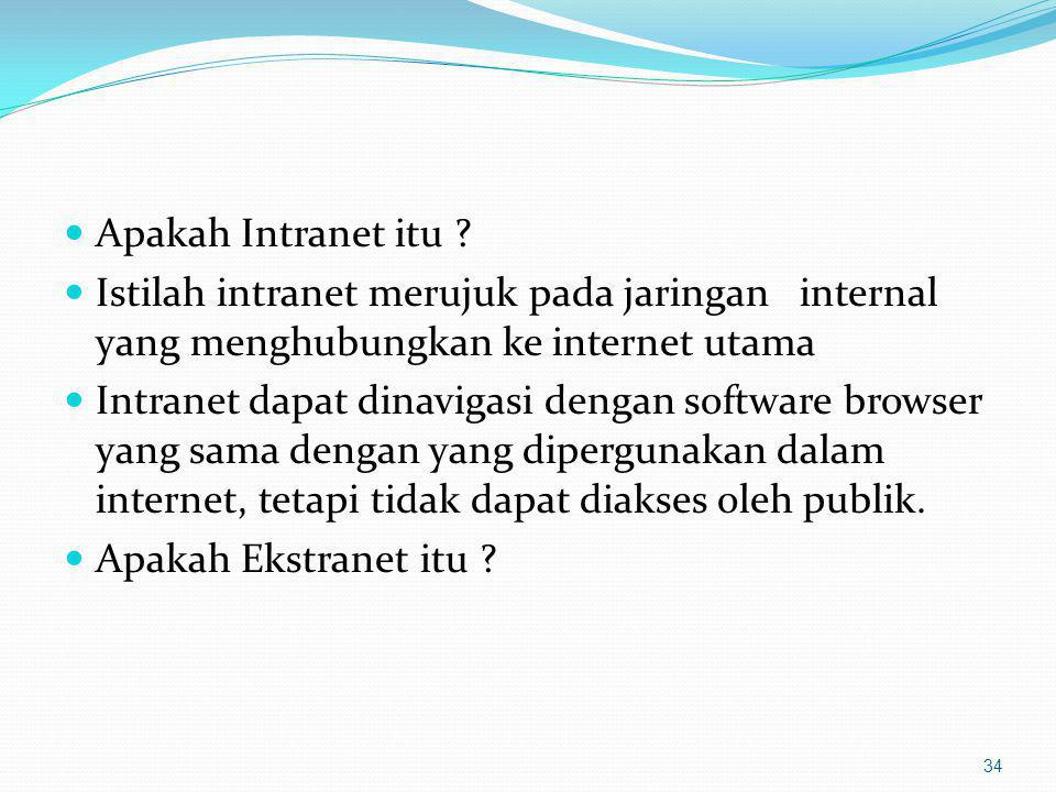 Apakah Intranet itu Istilah intranet merujuk pada jaringan internal yang menghubungkan ke internet utama.