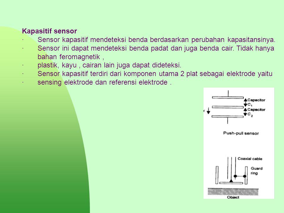 Kapasitif sensor · Sensor kapasitif mendeteksi benda berdasarkan perubahan kapasitansinya.