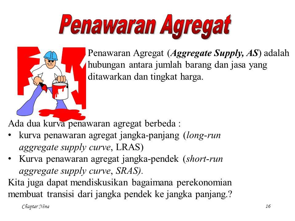Penawaran Agregat Penawaran Agregat (Aggregate Supply, AS) adalah hubungan antara jumlah barang dan jasa yang ditawarkan dan tingkat harga.