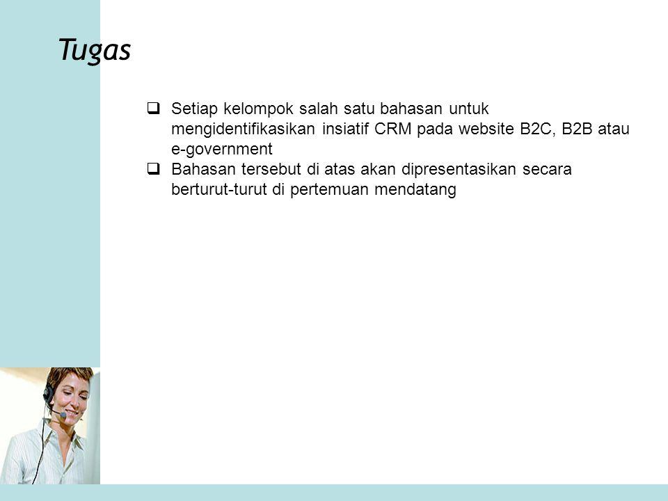 Tugas Setiap kelompok salah satu bahasan untuk mengidentifikasikan insiatif CRM pada website B2C, B2B atau e-government.