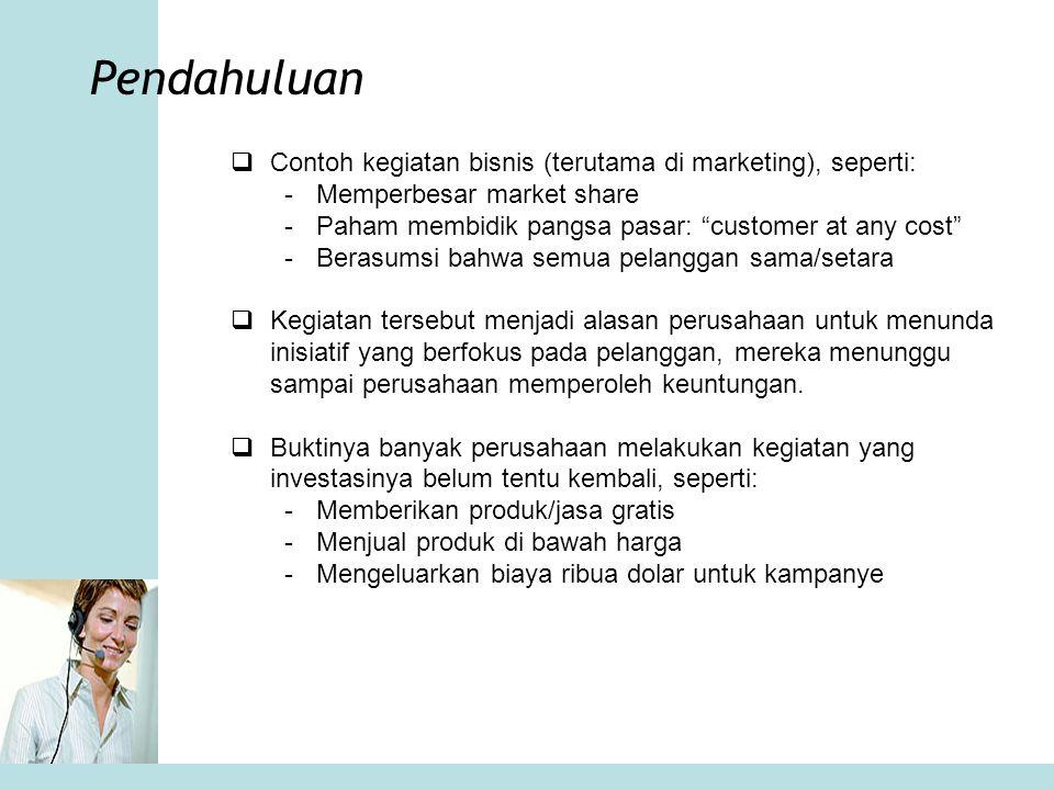 Pendahuluan Contoh kegiatan bisnis (terutama di marketing), seperti: