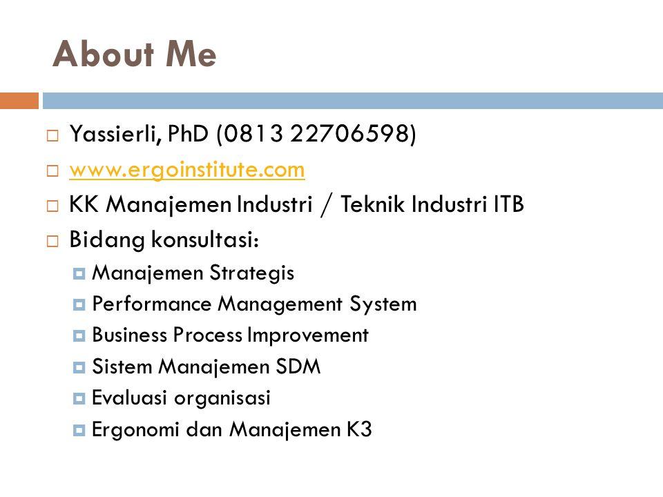 About Me Yassierli, PhD (0813 22706598) www.ergoinstitute.com
