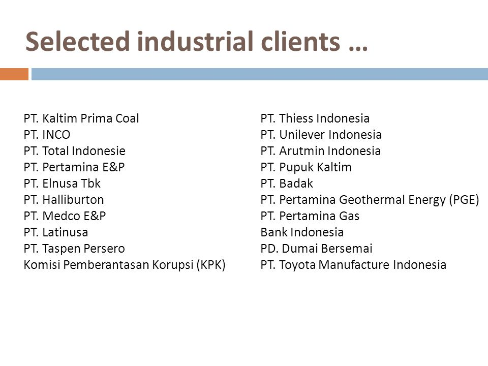 Selected industrial clients …