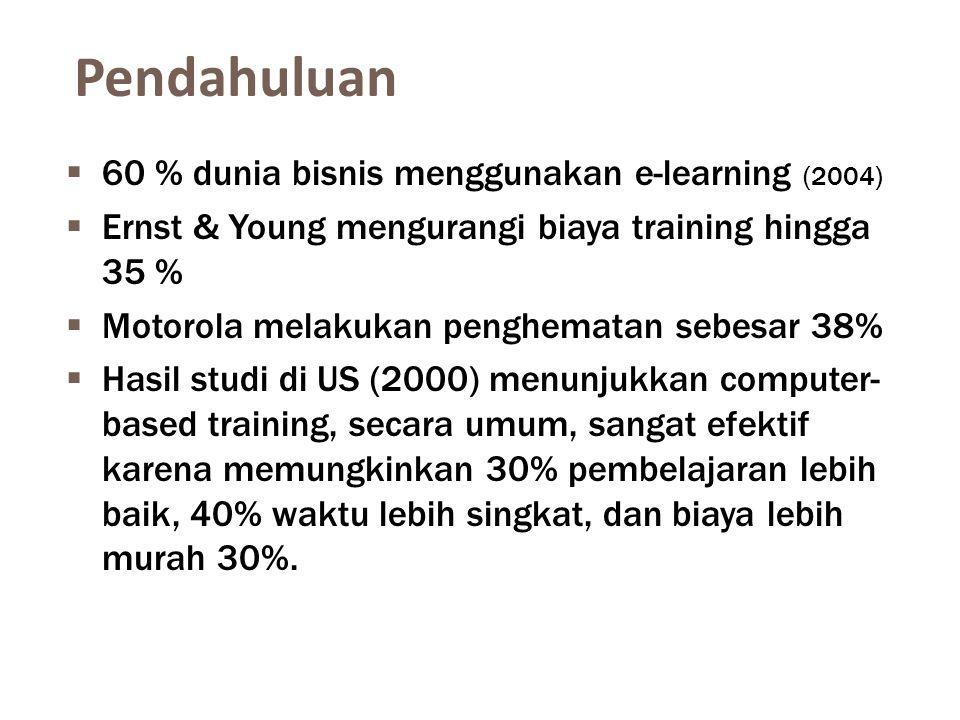 Pendahuluan 60 % dunia bisnis menggunakan e-learning (2004)