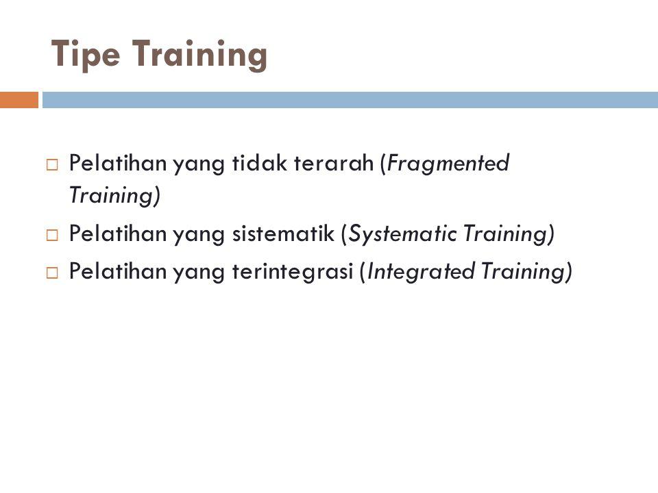Tipe Training Pelatihan yang tidak terarah (Fragmented Training)