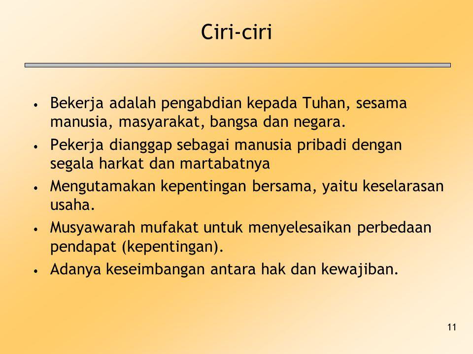Ciri-ciri Bekerja adalah pengabdian kepada Tuhan, sesama manusia, masyarakat, bangsa dan negara.