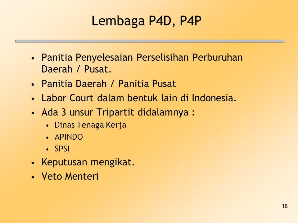 Lembaga P4D, P4P Panitia Penyelesaian Perselisihan Perburuhan Daerah / Pusat. Panitia Daerah / Panitia Pusat.