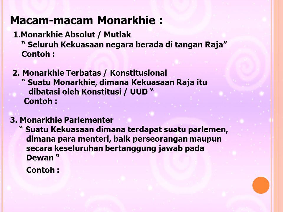 Macam-macam Monarkhie : 1.Monarkhie Absolut / Mutlak