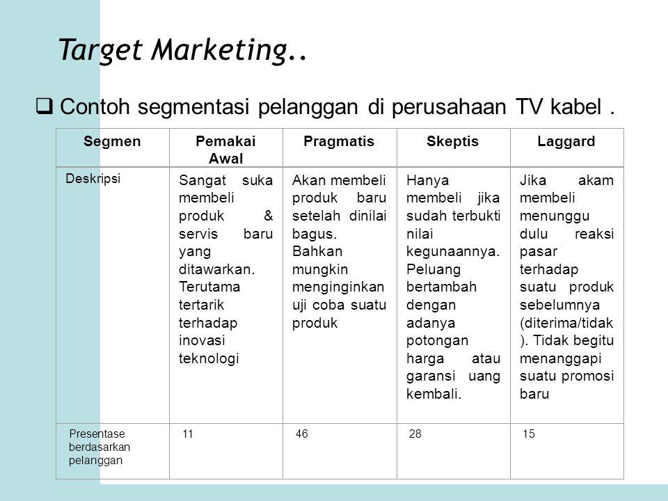 Target Marketing.. Contoh segmentasi pelanggan di perusahaan TV kabel . Segmen. Pemakai Awal. Pragmatis.