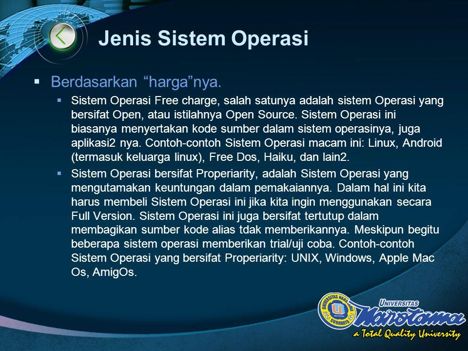 Jenis Sistem Operasi Berdasarkan harga nya.