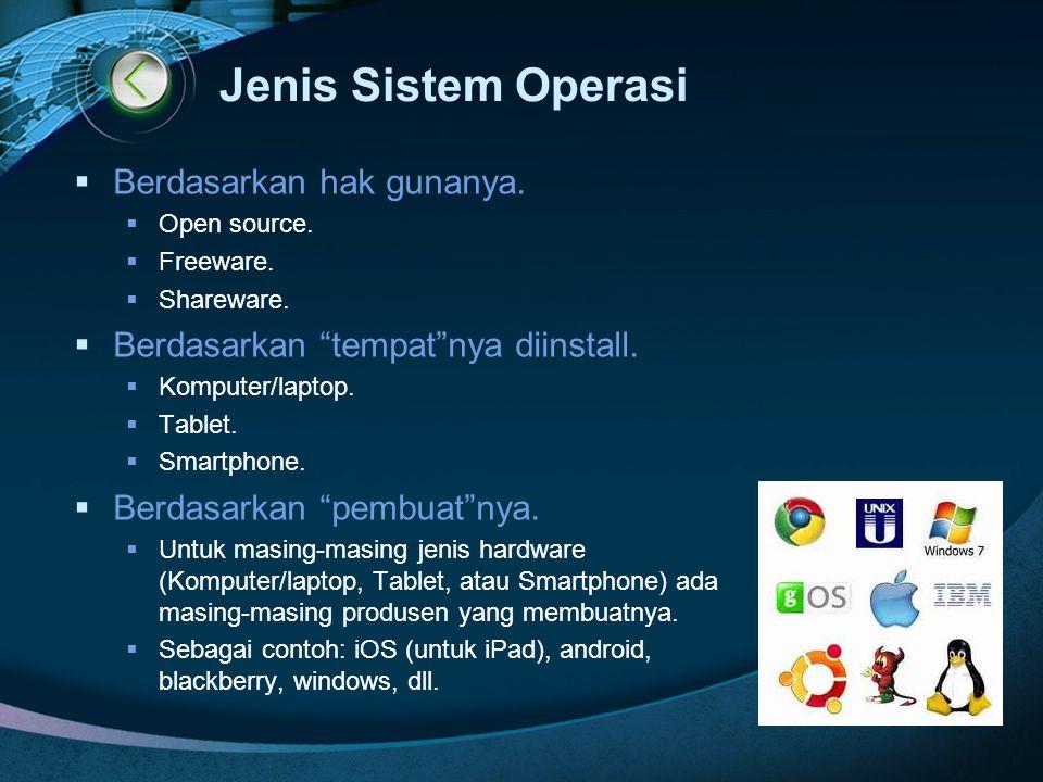 Jenis Sistem Operasi Berdasarkan hak gunanya.