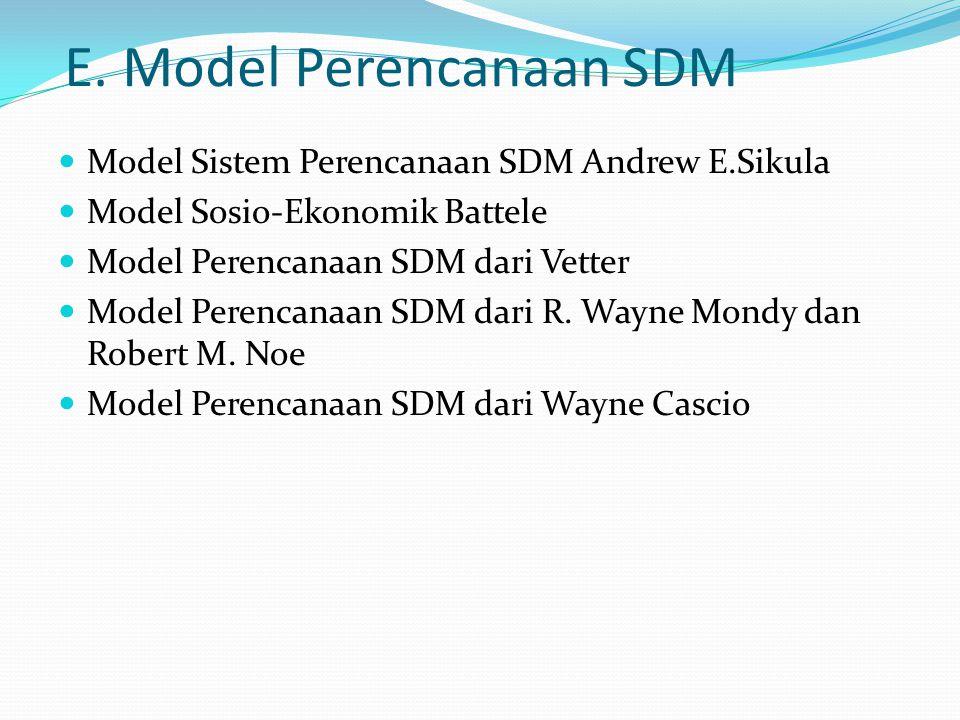 E. Model Perencanaan SDM