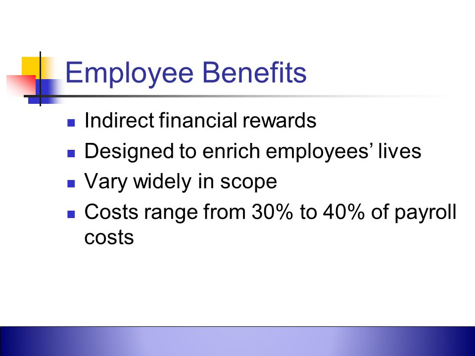 Employee Benefits Indirect financial rewards