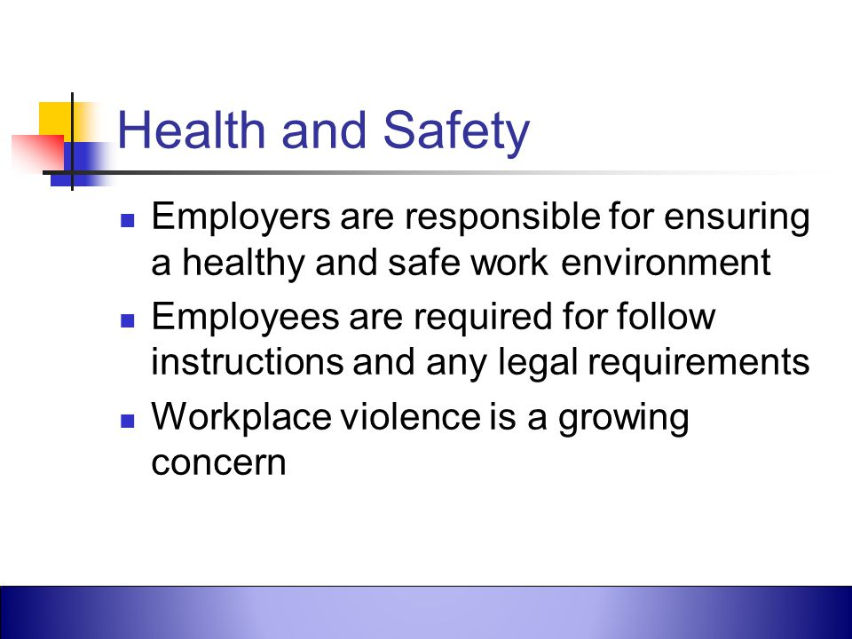 Health and Safety Employers are responsible for ensuring a healthy and safe work environment.