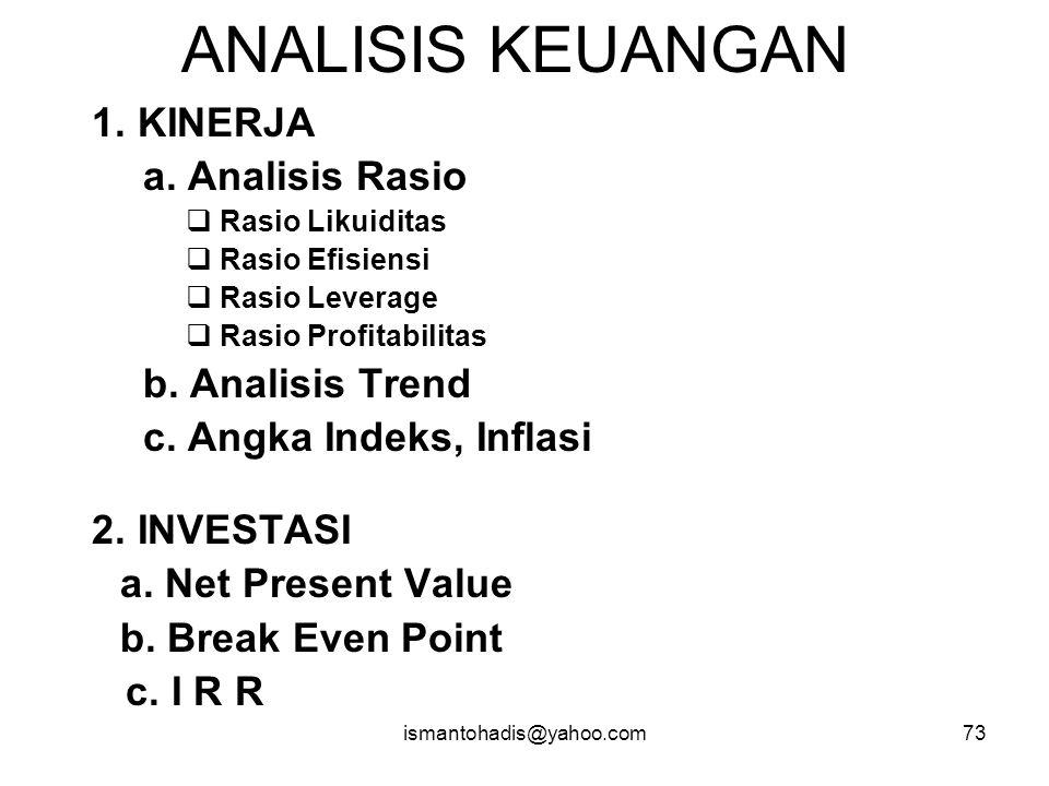 ANALISIS KEUANGAN 1. KINERJA a. Analisis Rasio b. Analisis Trend
