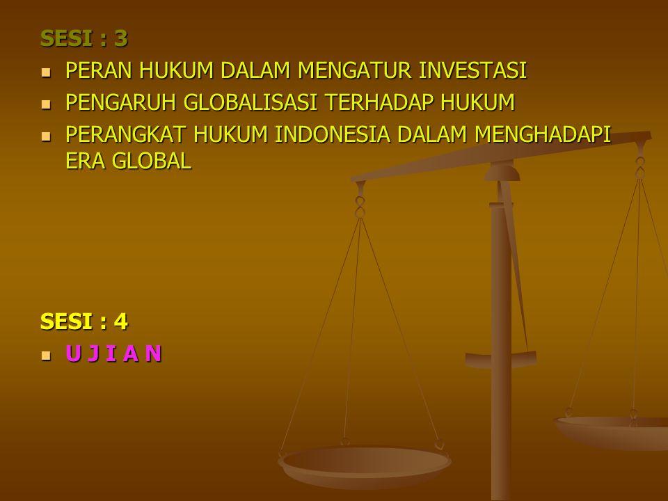 SESI : 3 PERAN HUKUM DALAM MENGATUR INVESTASI. PENGARUH GLOBALISASI TERHADAP HUKUM. PERANGKAT HUKUM INDONESIA DALAM MENGHADAPI ERA GLOBAL.