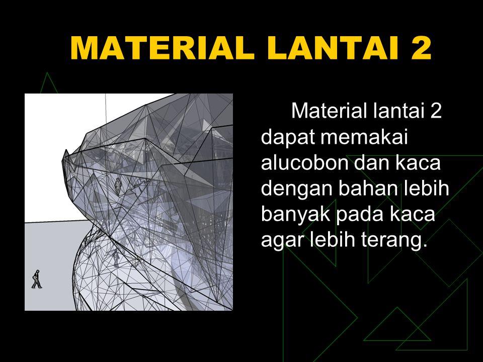 MATERIAL LANTAI 2 Material lantai 2 dapat memakai alucobon dan kaca dengan bahan lebih banyak pada kaca agar lebih terang.