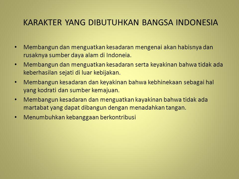 KARAKTER YANG DIBUTUHKAN BANGSA INDONESIA