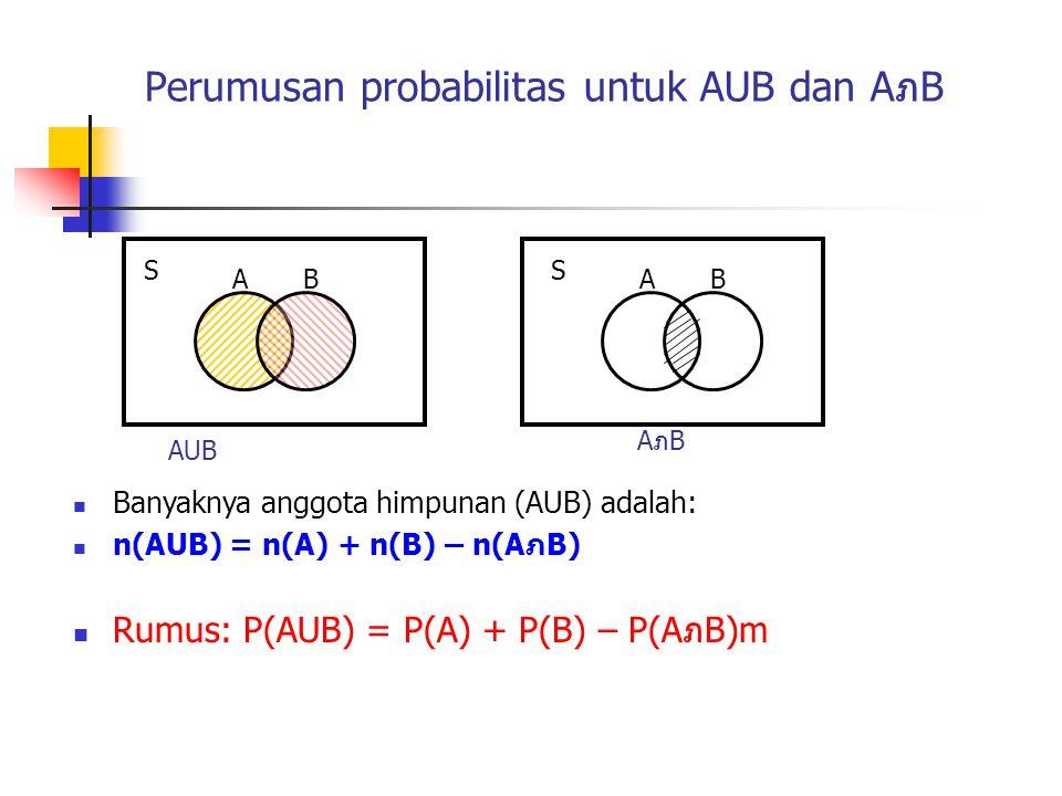Perumusan probabilitas untuk AUB dan AภB
