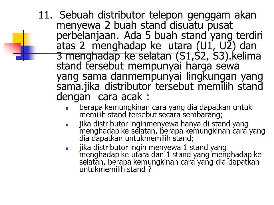 11. Sebuah distributor telepon genggam akan menyewa 2 buah stand disuatu pusat perbelanjaan. Ada 5 buah stand yang terdiri atas 2 menghadap ke utara (U1, U2) dan 3 menghadap ke selatan (S1,S2, S3).kelima stand tersebut mempunyai harga sewa yang sama danmempunyai lingkungan yang sama.jika distributor tersebut memilih stand dengan cara acak :