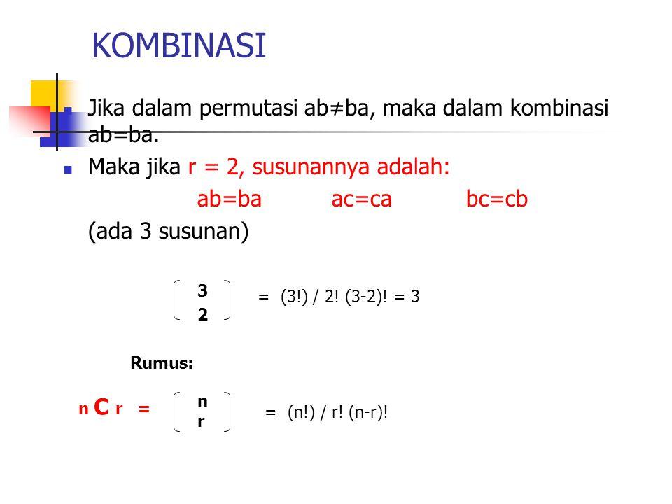 KOMBINASI Jika dalam permutasi ab≠ba, maka dalam kombinasi ab=ba.