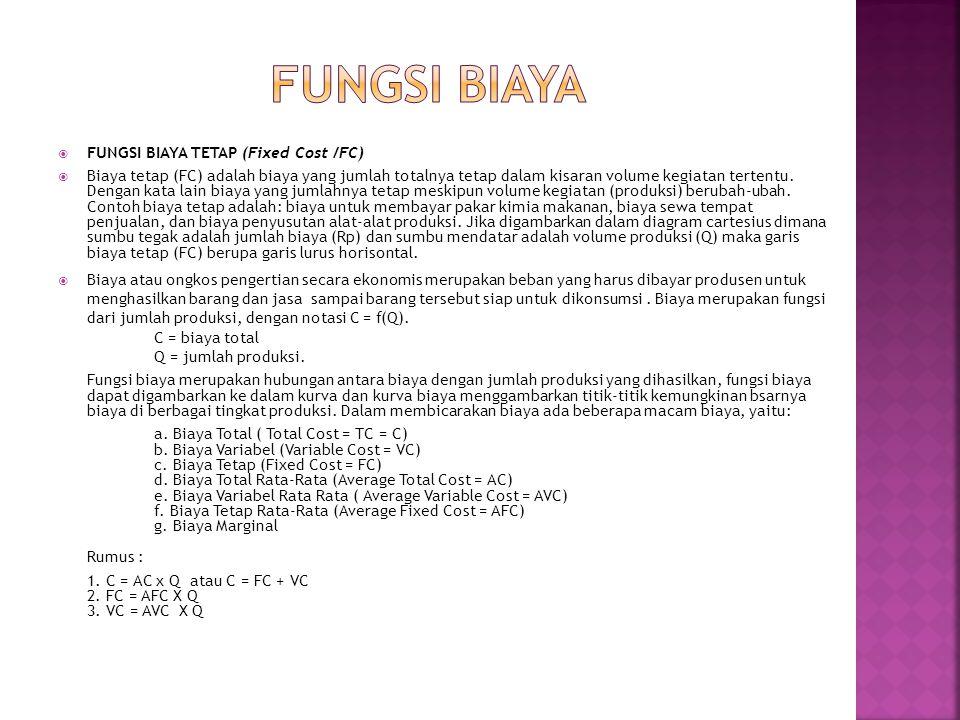 FUNGSI BIAYA FUNGSI BIAYA TETAP (Fixed Cost /FC)