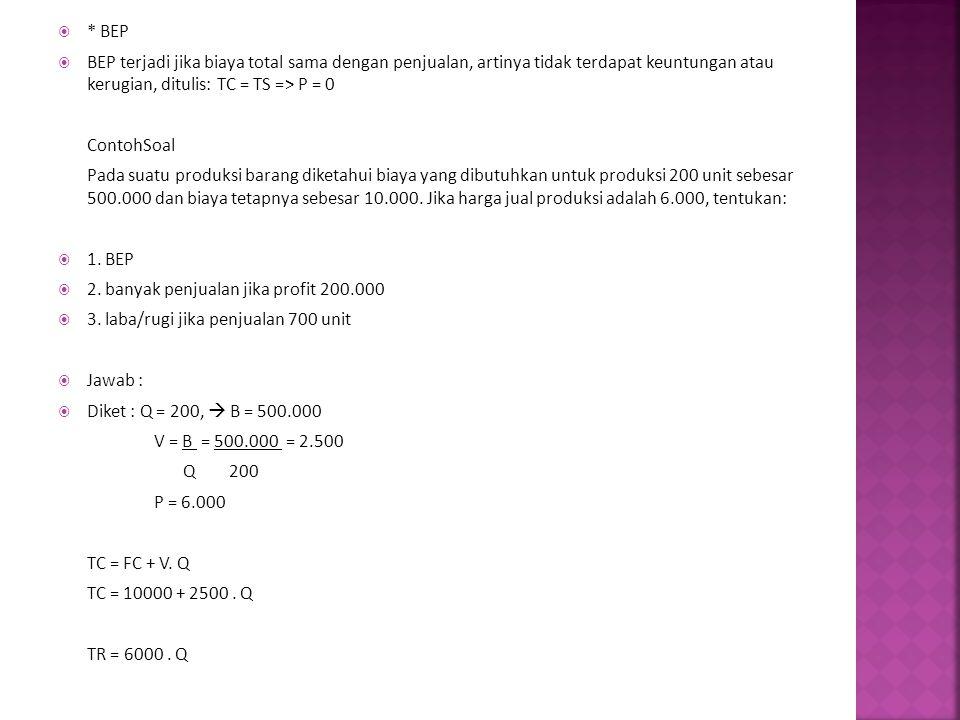 * BEP BEP terjadi jika biaya total sama dengan penjualan, artinya tidak terdapat keuntungan atau kerugian, ditulis: TC = TS => P = 0.