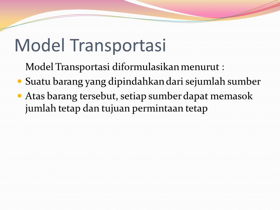 Model Transportasi Model Transportasi diformulasikan menurut :